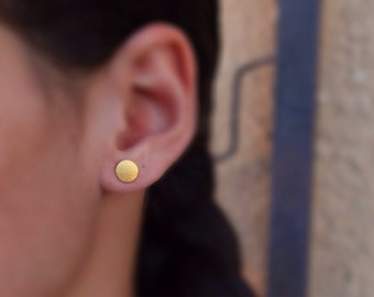 Gold studs earrings, gold filled round studs, minimal earrings, gold dot stud earrings, circle studs, gold filled dot earrings