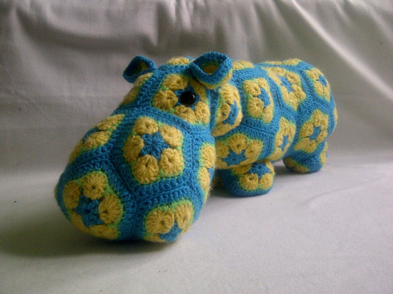 Crochet Amigurumi African Flower : Handmade crochet toys Hippo African Flower Amigurumi
