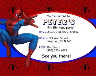 Spiderman Birthday Invitation - Printable