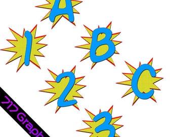 Superhero Alphabet & Numbers Clipart Package(Blue)