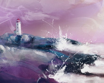 Lighthouse 100x64cm: digital painting reproduced in high quality on paper FineArt. The painting is printed in limited edition 10 PCs