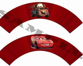 Cars Cupcake Wrapper DIY Instant Download