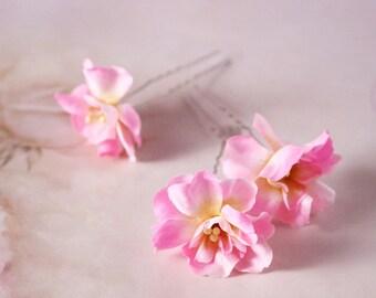 Bridal hand dyed silk flower hair pin, headpiece - Flower hair pin,A set for three flower, Ready to Ship