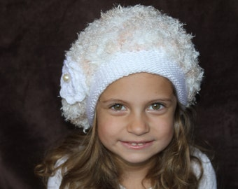 Beige and White hat. Knitted girl hat. Crochet hat. Flower hat. Soft hat.