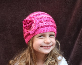 Knitted hat. Girl burgundy/pink hat. Flower hat. Crochet hat. Age 2-3