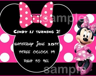 Personalized Minnie Mouse Birthday Invitation - Design#1 Minnie