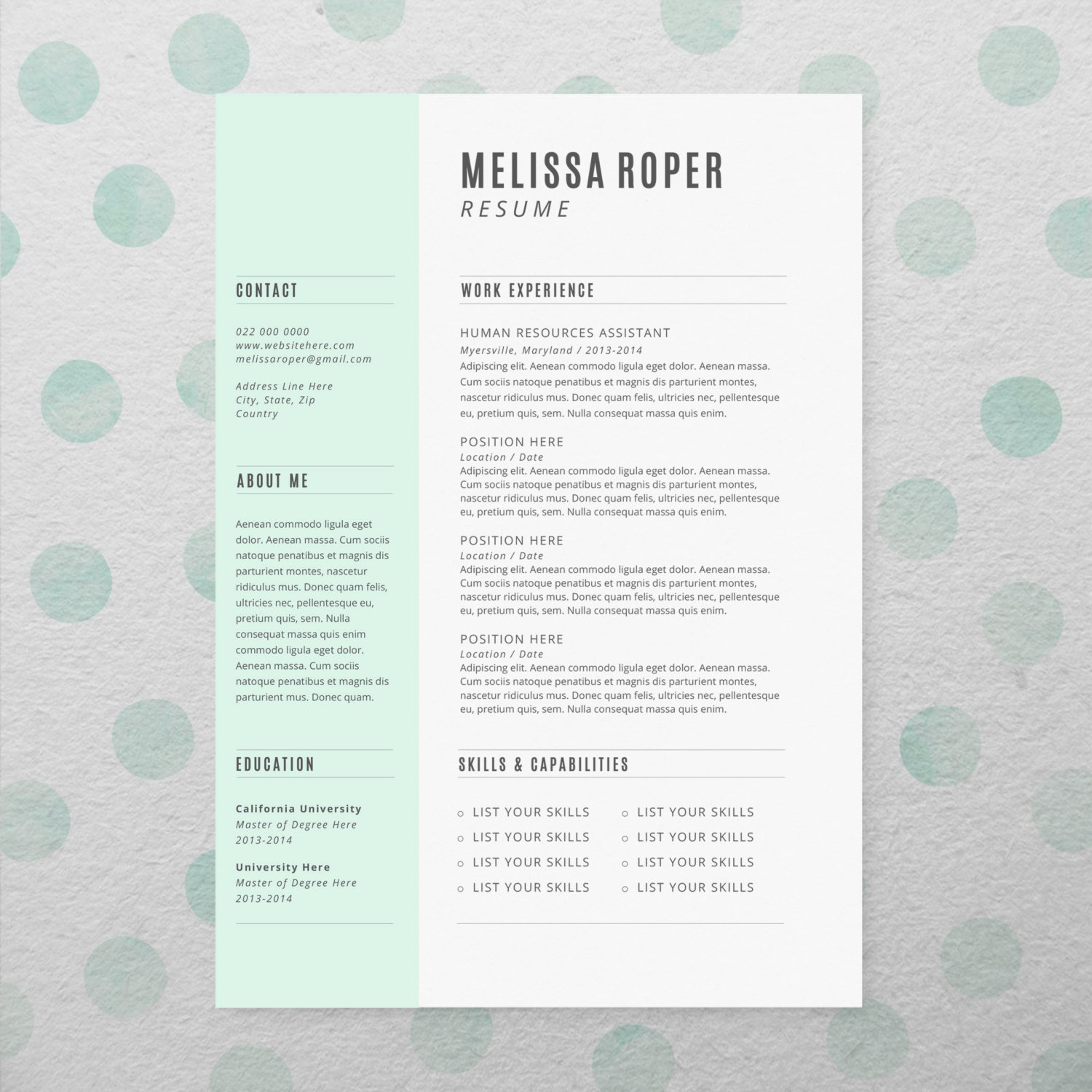 cv design cover letter instant download by brandconceptco on etsy