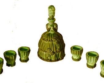 Vintage Malachite Glass Cordial Set