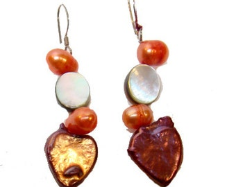 Cafe Society Collection Earrings (Pierced) Pearls and Mother of Peals Rust and Orange