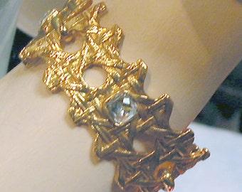 """French Bracelet:  """"Jewel Basket 2""""  Braonze with Glass Jewels"""