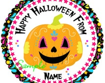 Halloween Stickers, Gift Tags Personalized Labels,Halloween Favor Stickers Halloween Sugar Pumpkin