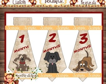 Dogs Monthly Baby Tie Stickers Baby Boy Ties Month Baby Stickers Milestone Stickers Monthly Sticker Boy Stickers Baby Shower Gift {M98}