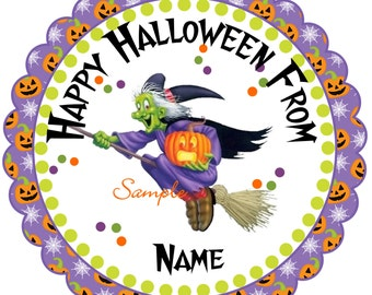 Halloween Stickers, Gift Tags Personalized Labels, Halloween Favor Stickers halloween Broom Witch