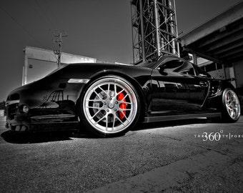 Porsche 911 997 TT Left Side Close Black on 360 Forged wheels HD Poster print