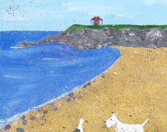 Beach art, dog art, Westie art, narrative art, dog and seagull, whimsical art, coastline, shoreline, sea, humorous art, giclee print.