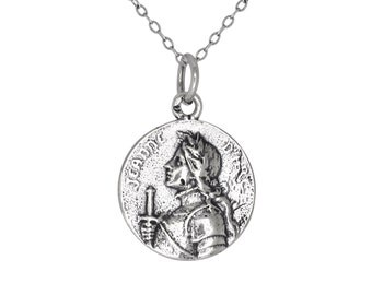 Sterling Silver .925 Jeanne d' Arc Joan of Arc Medal Charm Pendant Necklace | Made in USA