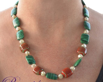 Green and Red Necklace-Semi Precious-Gemstone-Lampwork-Necklace and Earrings-Handmade-Beauje-Christmas necklace