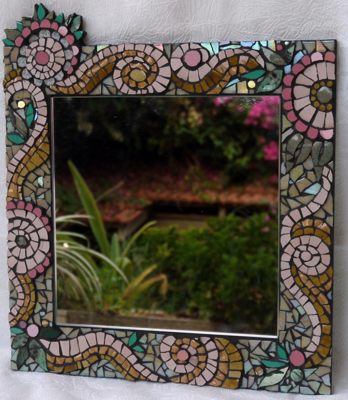 mosaic framed mirror wall art mosaic art wall by. Black Bedroom Furniture Sets. Home Design Ideas