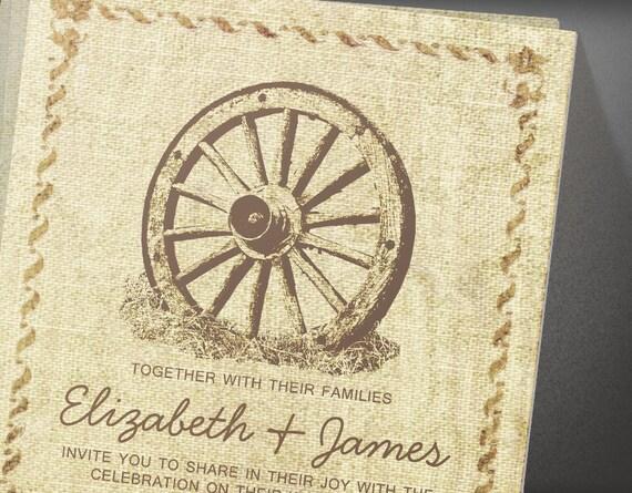 Vintage Horseshoe Wedding Invitations | Invites | Printable Invitation Cards or Printed