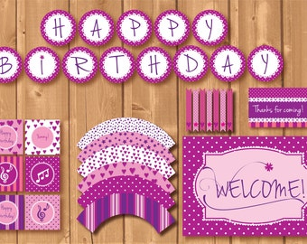 Violetta inspired party package. Instant download. Printable. Matching Custom invitation available!