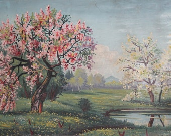Antique oil painting spring landscape signed
