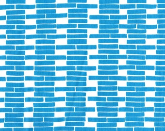 Bricklayer (Bright Blue) on Organic Linen Fabric-HALF YARD