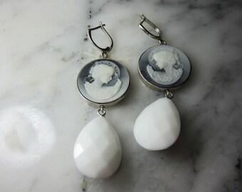 Cameo gems earrings Onyx drops chandelier art deco