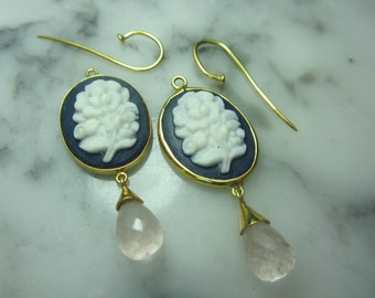 Briolette Pendant Rosequartz Mix & Match Earrings faceted Cameo Gem gold earrings