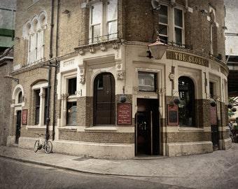 London Pub, London Photography, British Decor, Bridget Jones, Office Decor, Travel, England, Fine Art Print, Wall Art, brown, cream, gold