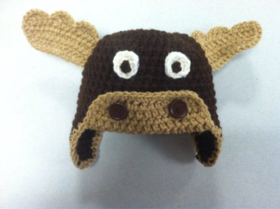 Items similar to Crochet moose hat on Etsy