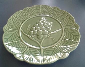 Vintage 1980's  Olive Darb Green Porcelain Plate with Grape Design on Vine