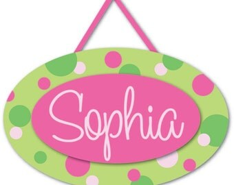 Pink and lime green polka dots  personalized name sign