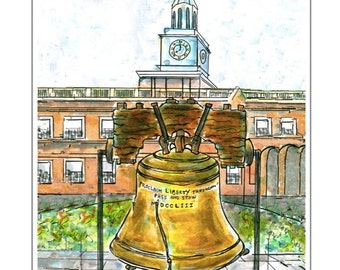 The Liberty Bell.  Digital print of original watercolor/ink painting.  White archival mat.