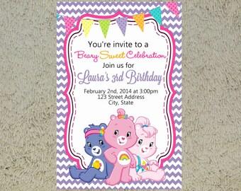 Printable Care Bears Birthday Invitation - Care Bears Invitation - Care Bears Invite