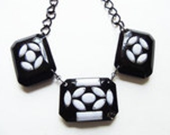 Resin Black and White Geometric Necklace