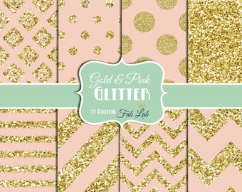 Gold and Pink, Glitter, Sparkling, Chevron, Stripes, Polka Dots, Digital Paper, 12x12, Scrapbook