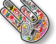 Shocker Hand JDM Style Sticker Bomb decal left handed small 90mm
