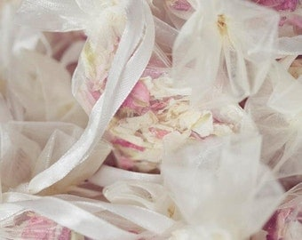 """20 small (2.5"""" x 3.5"""") organza bags filled with biodegradable larkspur  natural confetti petals"""