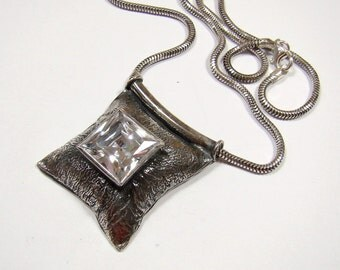 Very original sterling silver necklace with cubic zirconia , oxidized darkned silver 925 , fully handmade