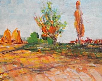 Vintage impressionist landscape field oil painting