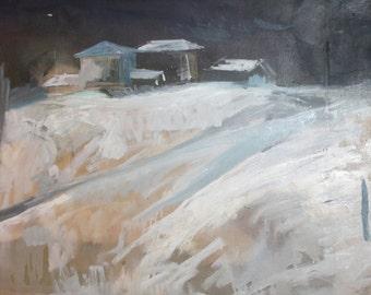 Vintage landscape oil painting houses