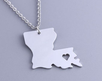 I heart Louisiana Necklace -Louisiana Pendant - State Charm - Map necklace - Map Jewelry