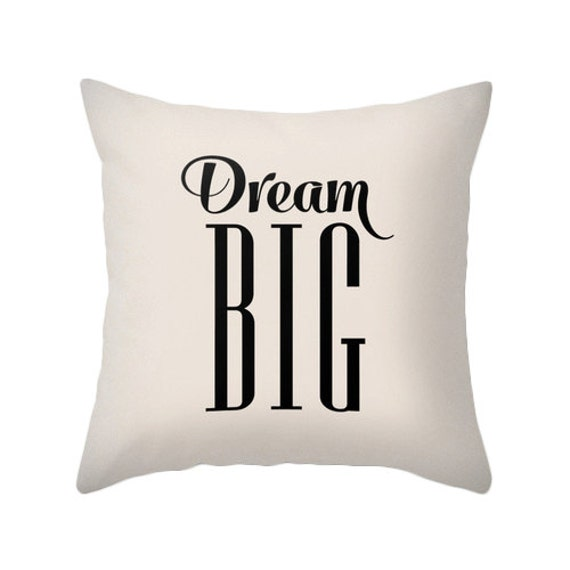 Dream big throw pillow Light cream cushion Nursery cream