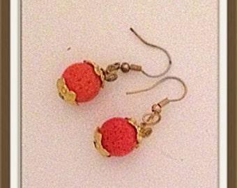 Handmade MWL short dangle orange pumpkin earrings. 0019