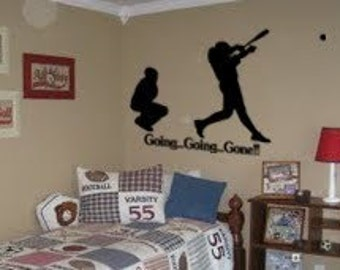 Baseball player decal quote ball sticker childs room vinyl wall decor -46 X 52 inches