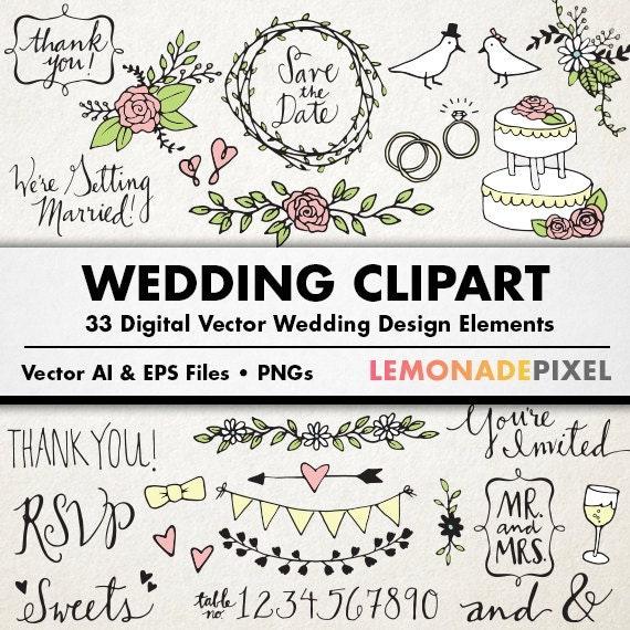 Wedding Clipart Hand Drawn Clip Art Rustic Wedding