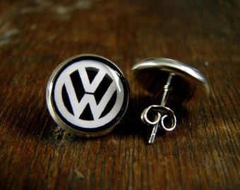 vw Volkswagen logo Post earrings USA MADE & SHIPPED Silver plated post earrings wedding birthday Gifts Superheroes movie jewelry