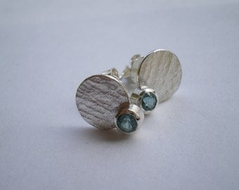 surface textured studs with aquamarine, blue, beach, holiday, silver, stud, earring,birthday, Party