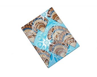 Blue and brown sea shell ankara bound ruled note book