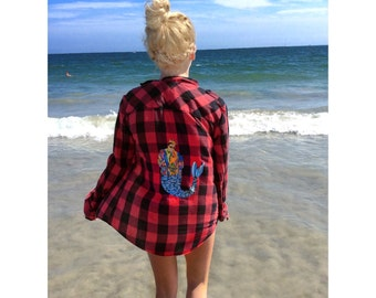 Biggie Mermaid Red and Black Lumberjac Flannel Shirt